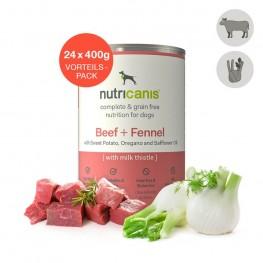 Nat hondenvoer voor volwassen honden: 24 x 400g Rundvlees + Venkel