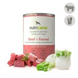 Hypoallergeen natvoer voor honden: 400g Rundvlees + Venkel