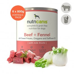 Nat hondenvoer voor volwassen honden: 6 x 800g Rundvlees + Venkel