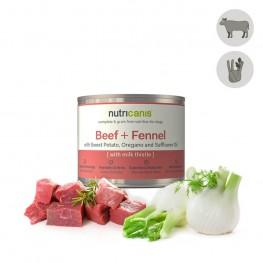 Hypoallergeen natvoer voor honden: 200g Rundvlees + Venkel